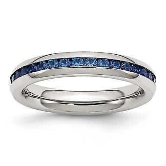 4 mm 9 月青い立方ジルコニア リングの指輪のサイズを磨かれたステンレス鋼: 6 に 9