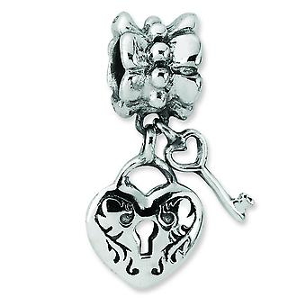 Sterling Silver Polished Antique finish Reflections Heart and Key Dangle Bead Charm