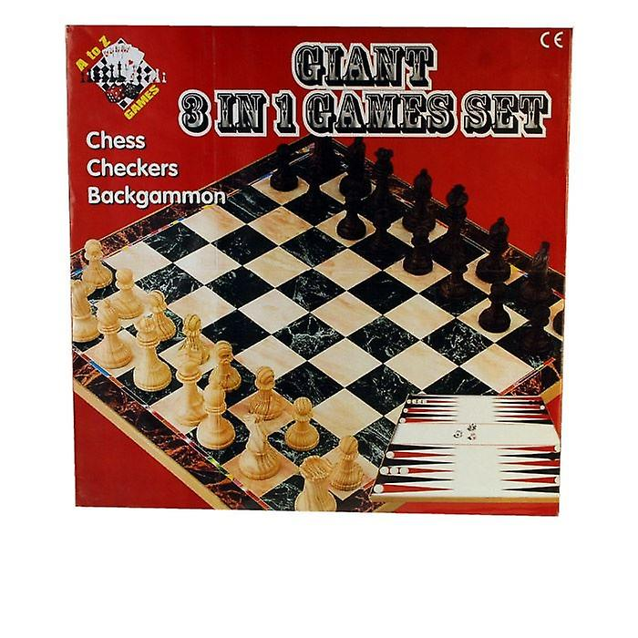 Giant 3 In 1 Games Set Chess Checkers Backgammon