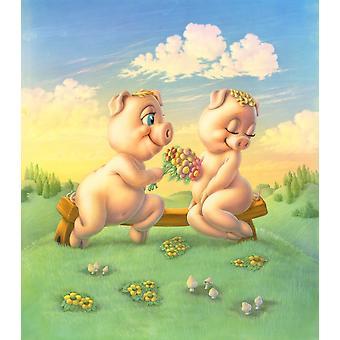 Svin i kærlighed plakat Print af Andrew Farley
