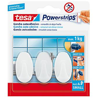 Tesa Powerstrips Hooks Small Oval Self-Adhesive Removable White