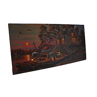 LED Lighted Morning Lake House Canvas Wall Art Print 24 X 12 in.