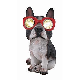 Boston Terrier Solar Eyes LED Accent Light Statue