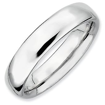 Sterling Silver Rhodium-plated Stackable Expressions Rhodium Polished Ring - Ring Size: 5 to 10