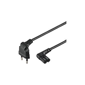 Qnect Mains cable 2-pin Euro to C7 Sonos angled 2 m black
