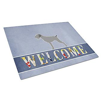 German Wirehaired Pointer Welcome Glass Cutting Board Large