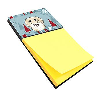 Winter Holiday Longhair Creme Dachshund Sticky Note Holder