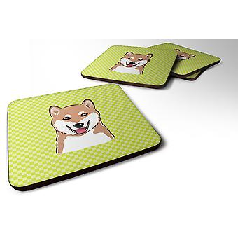 Set of 4 Checkerboard Lime Green Shiba Inu Foam Coasters