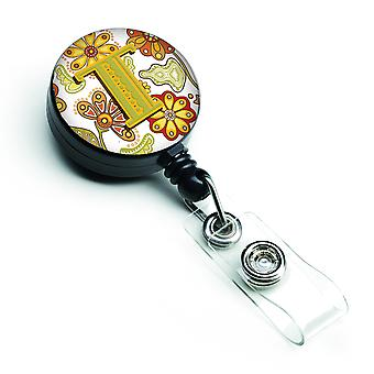 Letter T Floral Mustard and Green Retractable Badge Reel