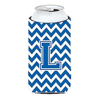 Letter L Chevron Blue and White Tall Boy Beverage Insulator Hugger