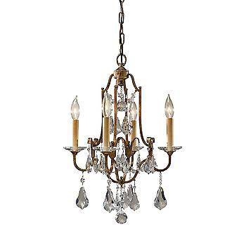 Elstead FE/VALENTINA4 Valentina 4 Light Ceiling Chandelier Light In Oxidised Bronze