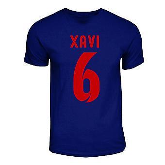 Camiseta de herói de Barcelona Xavi (Marinha)