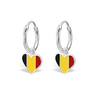Belgium Flag - 925 Sterling Silver + Epoxy Colour Earrings