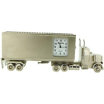Miniature Container Lorry Silver Tone Novelty Desktop Collectors Clock IMP1072S