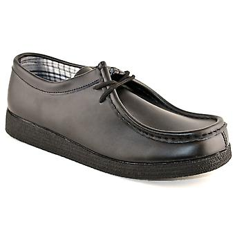 Mens Coated Leather Back To School Casual Lace Up Wallaby Shoes