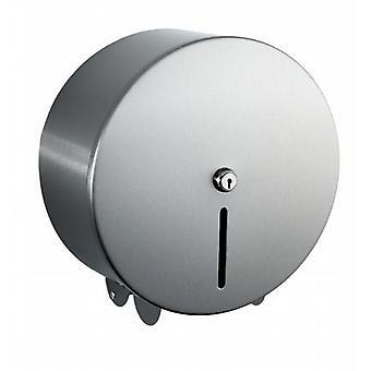 Luxury Brushed Steel Mini Jumbo Toilet Roll Dispenser.