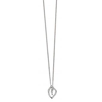 Elements Gold Diamond Open Leaf Pendant - White Gold/Clear