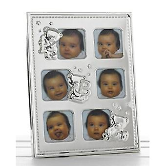 Teddy - Baby 6 Metall Collage Foto Bilderrahmen - Silber