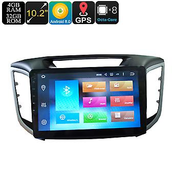 10.2 Inch Display 1 DIN Car Media Player For Hyundai IX25 - Octa-Core, 3G, 4G, 4+32GB, Android 8.0, GPS, Bluetooth, Wi-Fi