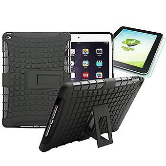Hybrid Outdoor Schutzhülle Schwarz für iPad Air 2 Tasche + 0.4 H9 Hartglas