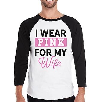 I Wear Pink For My Wife Mens Breast Cancer Awareness Baseball Shirt