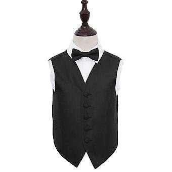 Black Greek Key Wedding Waistcoat & Bow Tie Set for Boys