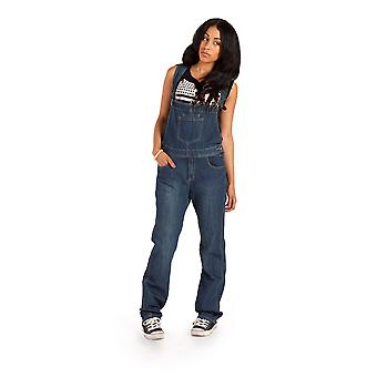 Womens Dark Wash Dungarees Regular Fit with Long Leg 33 inch