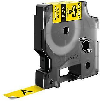 Labelling tape DYMO 18432 Vinyl Tape colour: Yellow Font colour: Black 12 mm 5.5 m