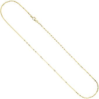 Criss-cross chain 333 Gold Yellow Gold 1,3 mm 40 cm necklace gold necklace carabiner