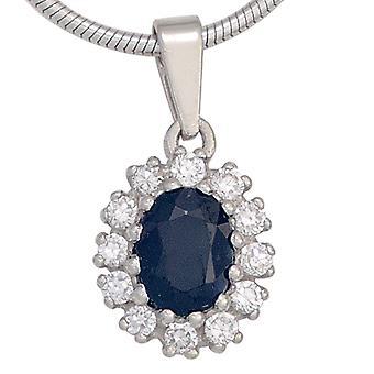 Saphir Anhänger 925 Sterling Silber rhodiniert 12 Zirkonia 1 Safir blau