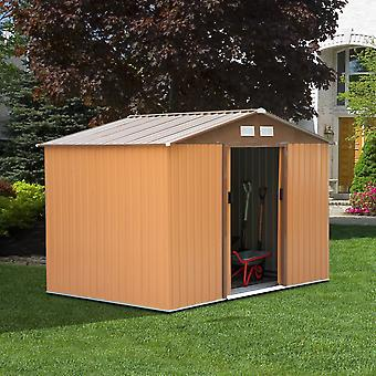 Outsunny Lockable Garden Shed Roofed Storage Building Sheds (6 x 6FT, khaki)