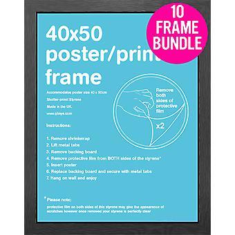 GB Posters 10 preto MDF Mini Poster Frames 40cm x 50cm Bundle