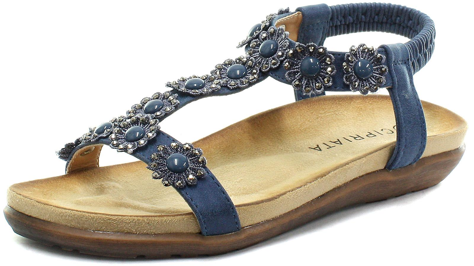 Cipriata Giovanna Navy Flower Womens Halter Back Sandals