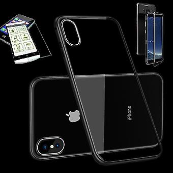 For Apple iPhone X 10 5.8 / 5.8 2018 XS magnet / metal / glass pouch case Black / transparent + 0.26 mm H9 hard glass
