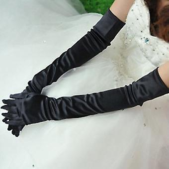 TRIXES stylu jedwabne łokcia długości rękawiczki Retro czarny