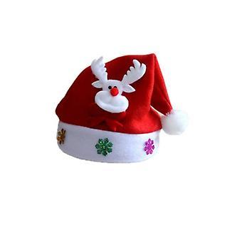 Santa hat med blinkende scene-Rudolph den røde næse rensdyr
