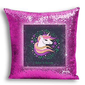 i-Tronixs - Unicorn Printed Design Pink Sequin Cushion / Pillow Cover for Home Decor - 10
