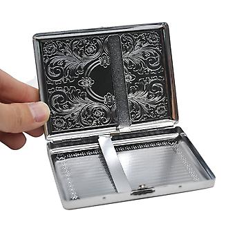 1 x metal cigarette case (105 mm * 80 mm) Holding 18 regular Size cigarettes (85 mm * 8 mm) Tobacco Case Box with 2 Clips. Pattern Random