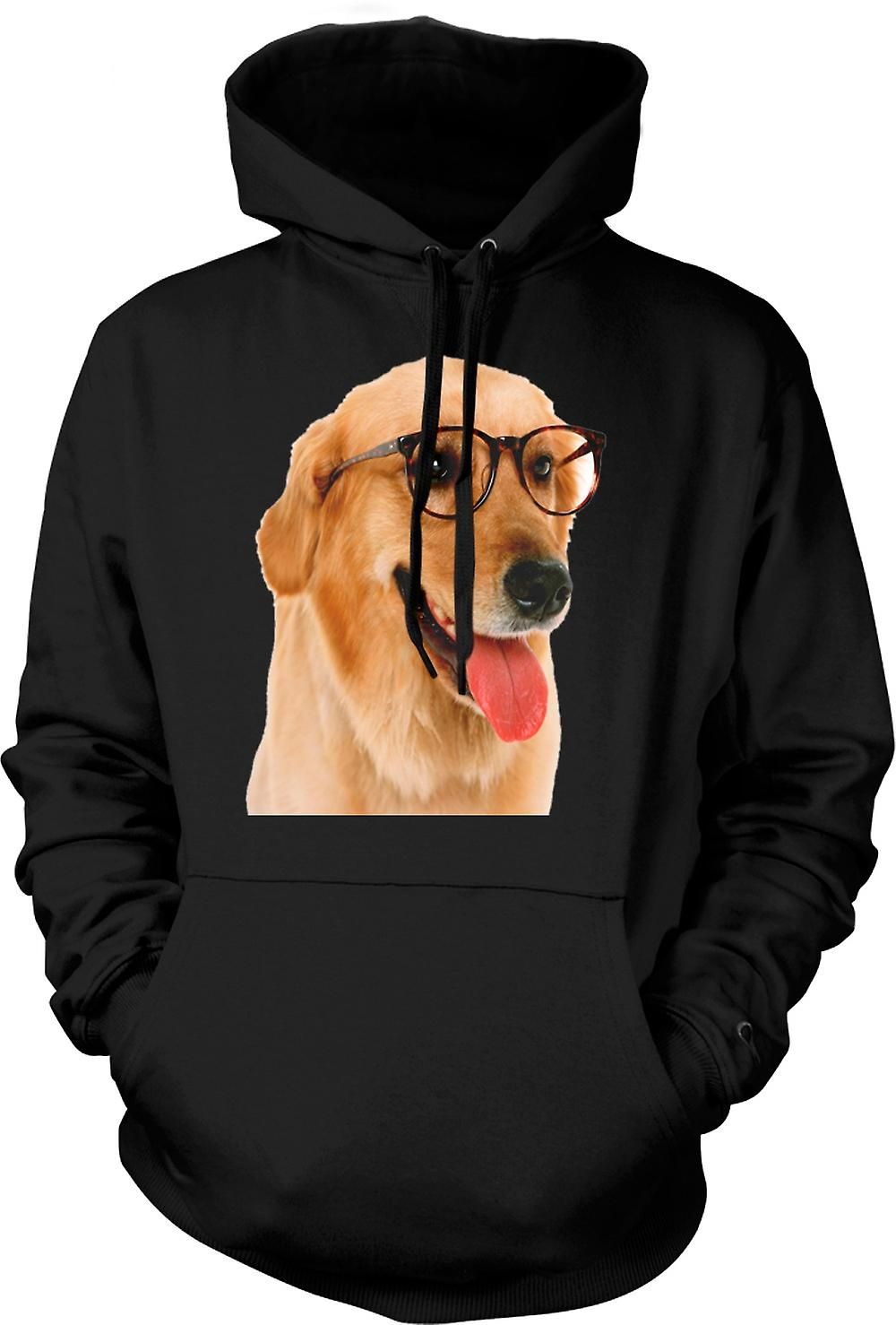 Mens Hoodie - Labrador With Glasses - Funny