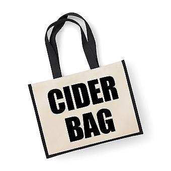Store sorte Jute taske Cider taske