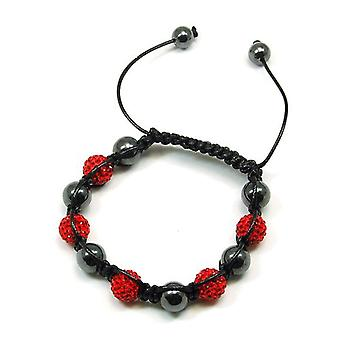 TOC Treated Hematite & Red Crystal Disco Ball Adjustable Bracelet