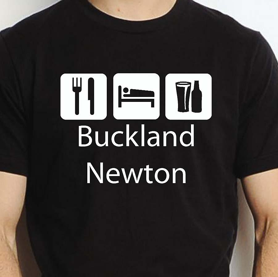 Eat Sleep Drink Bucklandnewton Black Hand Printed T shirt Bucklandnewton Town