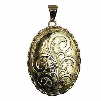9ct золота 37x28mm овальный ручной гравировкой витая проволока края медальон