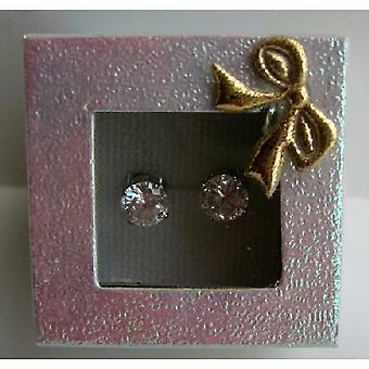 Simulated Diamond Cubic Zircon 8mm Stud Earrings w/ Gift Box Packing