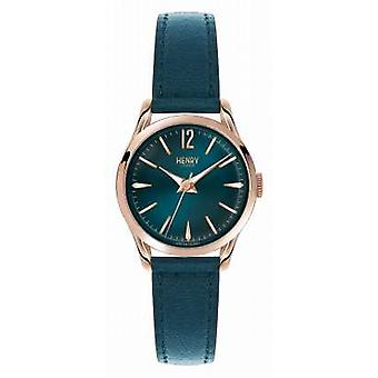 Henry London Stratford Blue Leather Strap Blue Dial HL25-S-0128 Watch