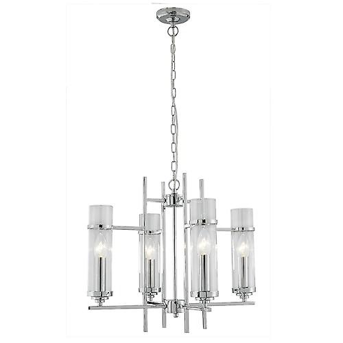 Searchlight 3094-4CC Milo Modern Chrome Ceiling Pendant With Clear Cylinder Glass