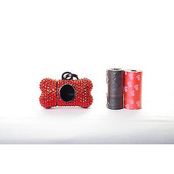 Rote Kristall Strass Knochen geformt Waste Bag Dispenser