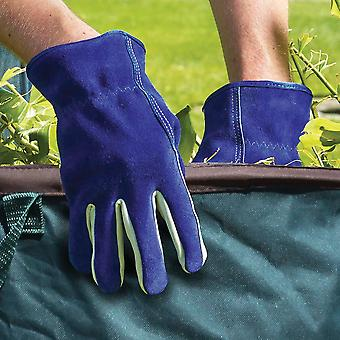 Briers Dual Lined Blue Leather Gardening Gloves - Medium