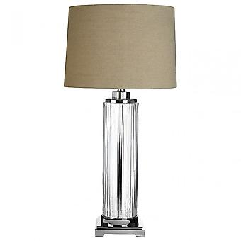 Premier Home Alona tafel lamp (EU plug), kristal, glas, linnen, Clear