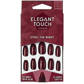 Elegant Touch After Dark - Steel The Night False Nails + Glue + Buffer (24 Pack)